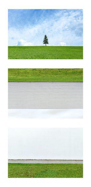 """Installazione, Spazio #8494, Spazio #9582 e Spazio #0382, 2020. Serie """"C'è SPAZIO per tutti"""". Fotografie digitali, stampe Fine art realizzate da Stefano Ciol, 50x75cm each"""