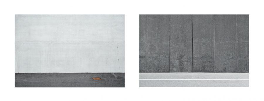 """Installazione, Spazio #8636 e Spazio #8639, 2019. Serie """"C'è SPAZIO per tutti"""". Fotografie digitali, stampe Fine art realizzate da Stefano Ciol, 50 x 75cm each."""